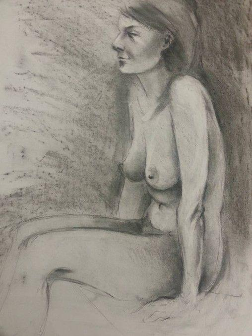 Charcoal life drawing sketch
