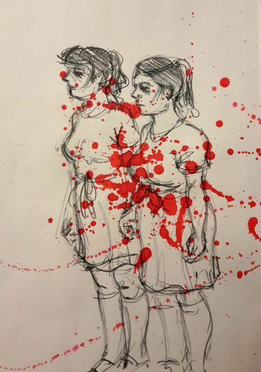 Dr Sketchy's Stephen King night! The twins from The Shining.