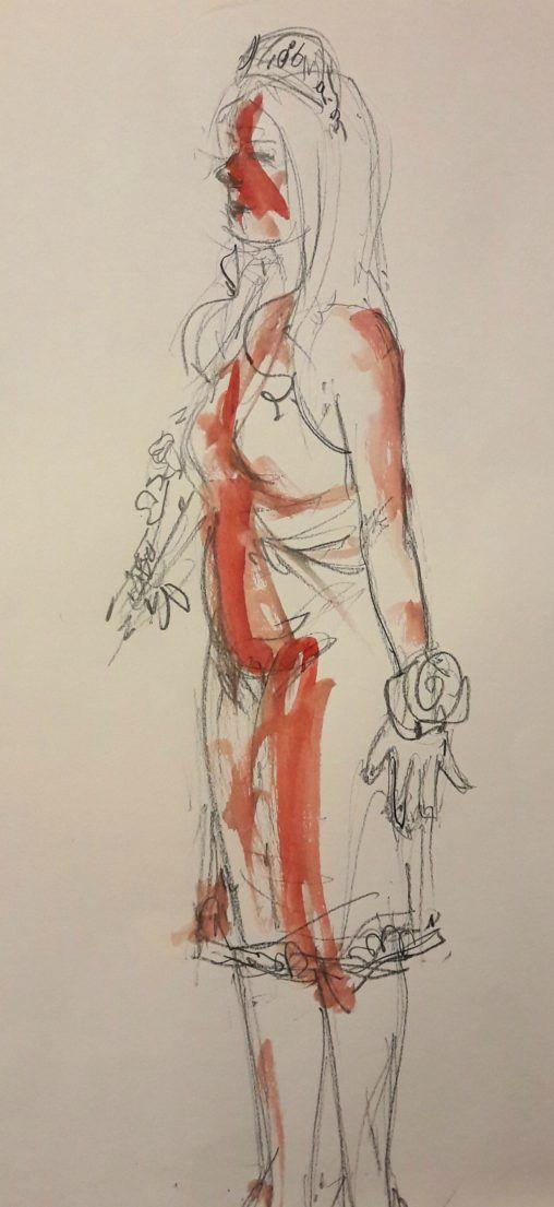 Dr Sketchy's Stephen King night! Carrie.