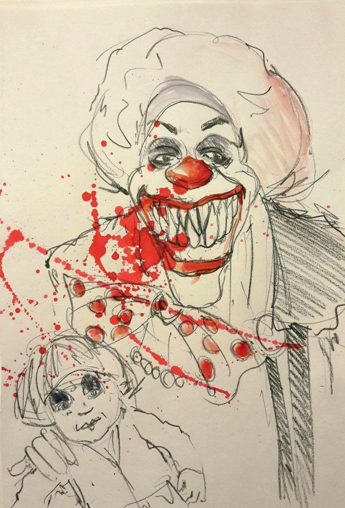 Dr Sketchy's Stephen King night! Pennywise from IT.