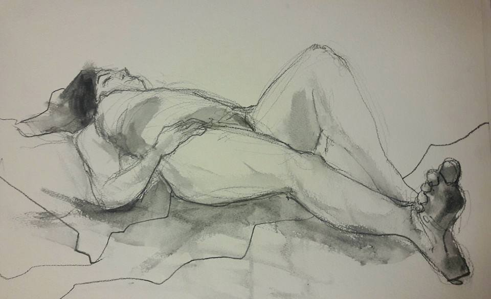 Study of Sarah. Donderdag life drawing. Water soluble graphite