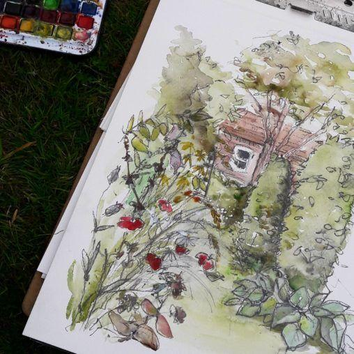 Sketching at Stillingfleet Lodge Gardens