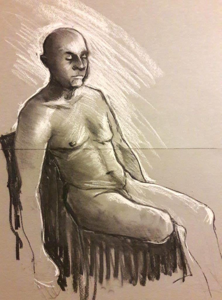 Dave. 30-minute study. Chalk and charcoal