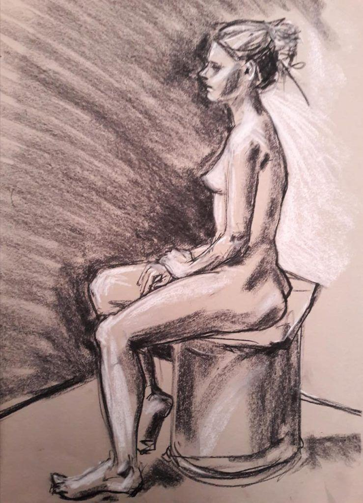 Claire. Chalk and charcoal study. 20 minutes.