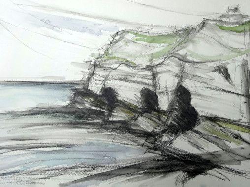 sketch, landscape, watercolour, graphite, sea, cliffs