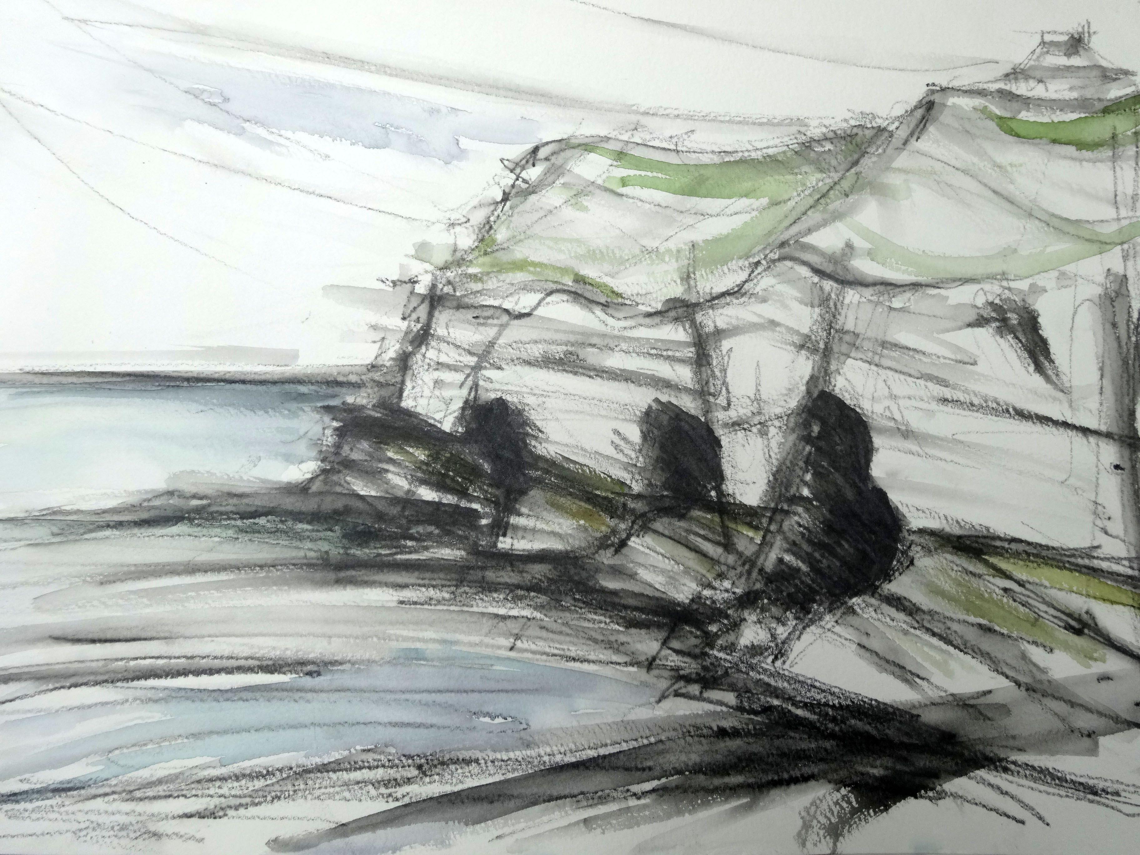 sketch, landscape, watercolour, graphite, sea, cliffs