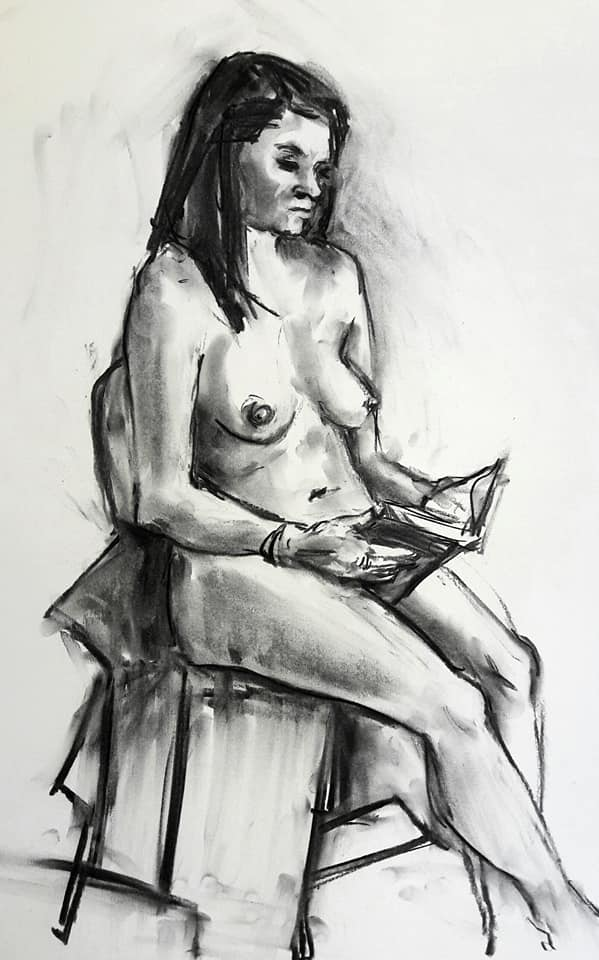 Rae reading. Charcoal study