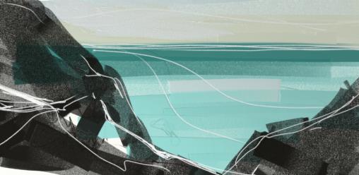 Sennen cliffs. Digital sketch on tablet