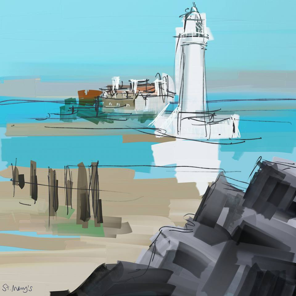 St Mary's Lighthouse, Whitley Bay. Digital sketch on tablet