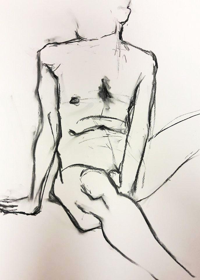 Steve. Charcoal line study