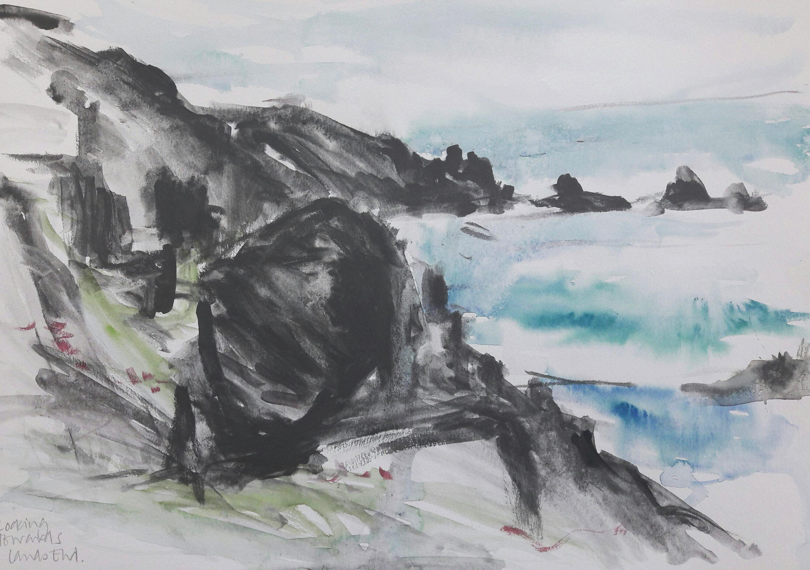 Towards Lands End. Graphite and watercolour