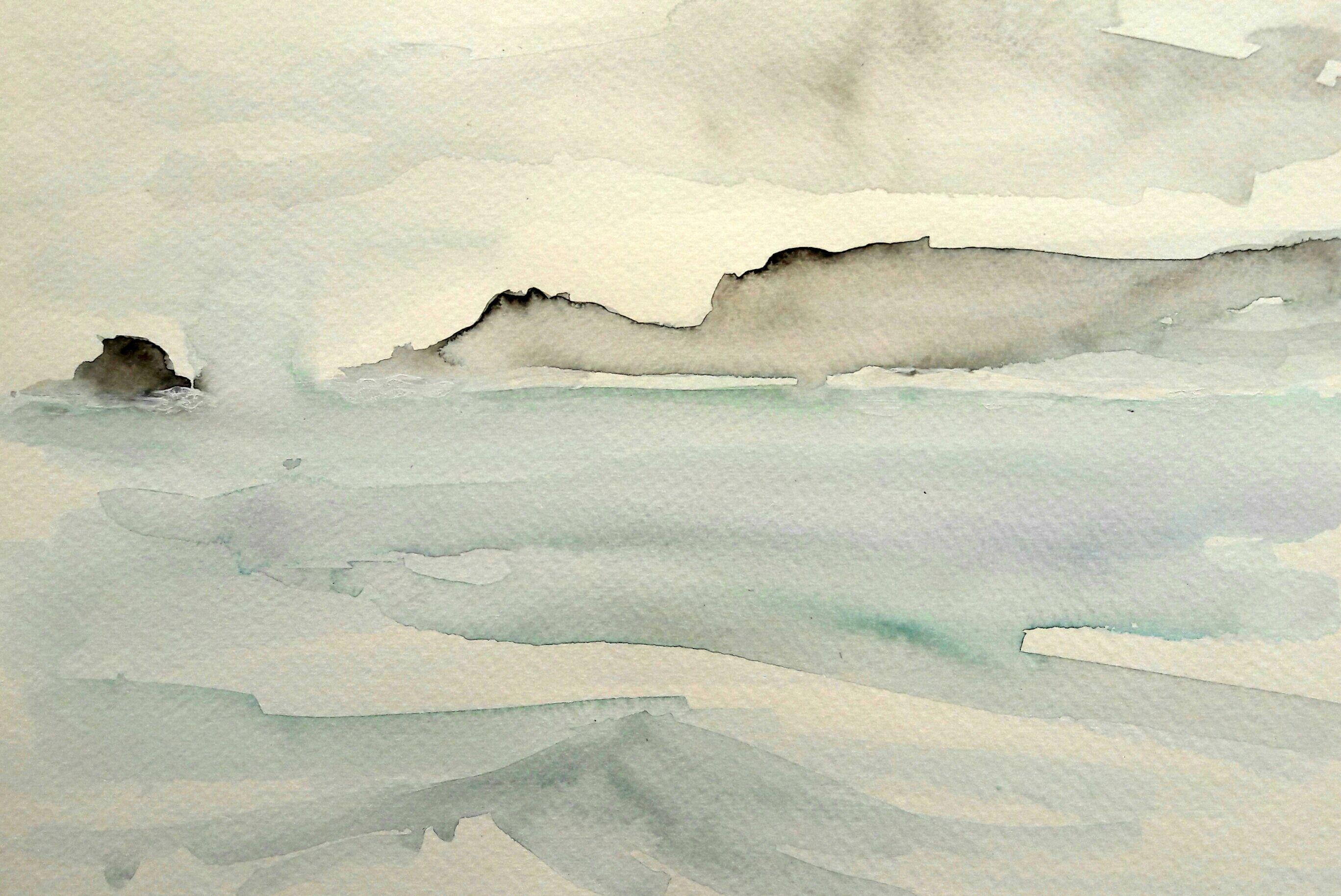 Morning sea mists. Watercolour on paper