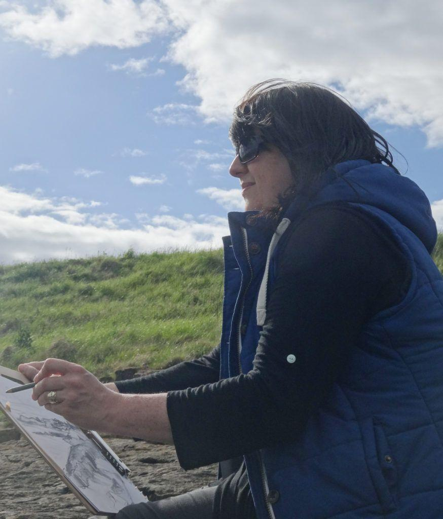 Sketching at Newton Point, Northumberland