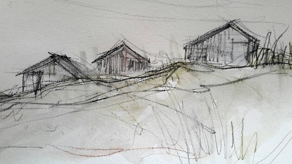 Low Newton beach huts. Water soluble graphite and watercolour on paper