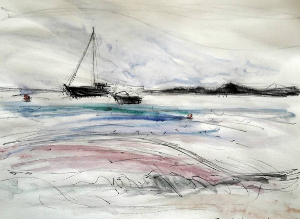 Low Newton boats. Water soluble graphite and watercolour on paper