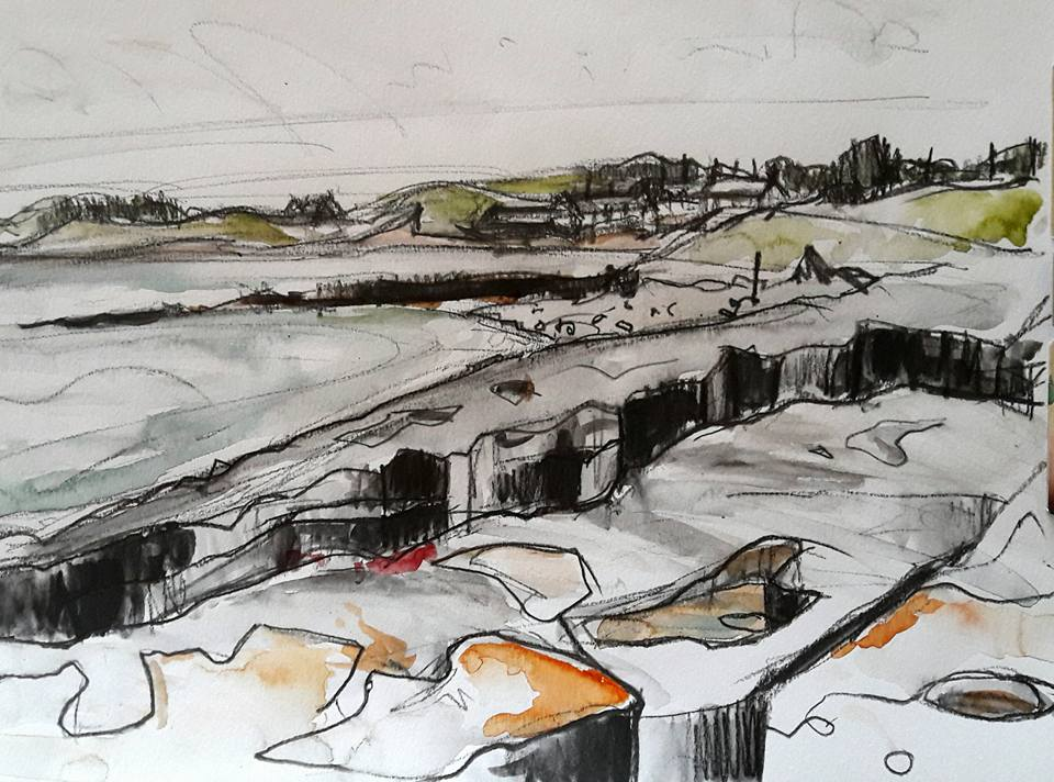 Low Newton village and shore rocks. Water soluble graphite and watercolour on paper