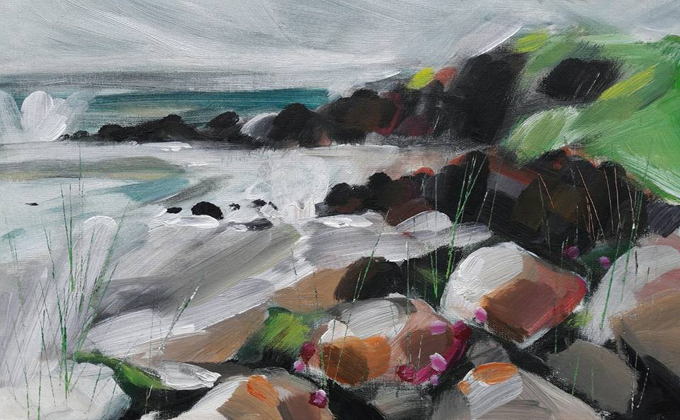 Newton Point. Churning sea paint sketch. Acrylic on paper