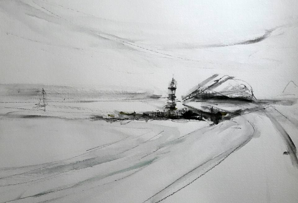Penmon Lighthouse, Anglesey. Composition sketch