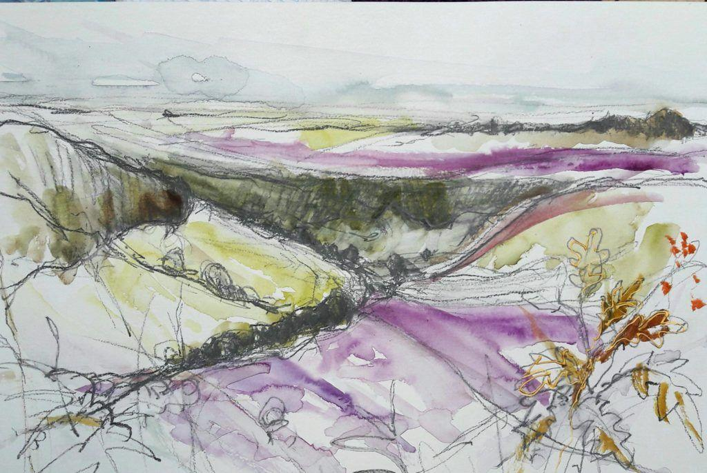 Hole of Horcum sketch in graphite and watercolour