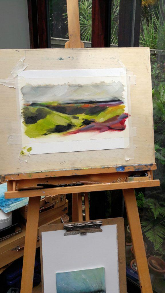 Getting some colour intensity down on the easel