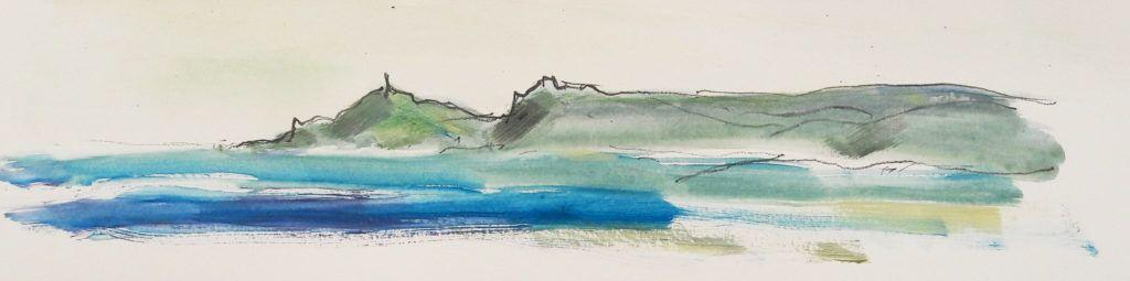 Cape Cornwall. Acrylic and graphite on paper