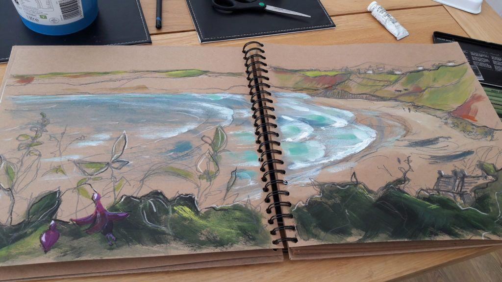 The view from our window across Sennen Cove. I can hear the waves... Acrylic and graphite