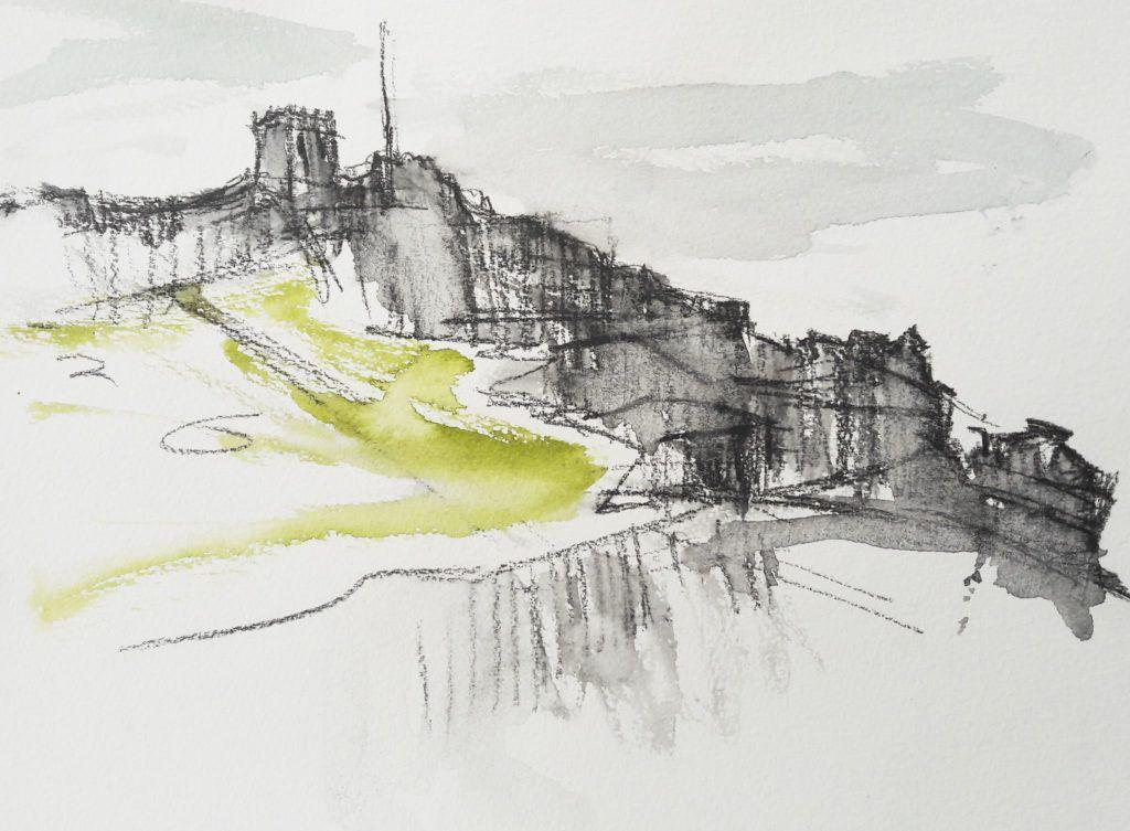 The Lookout sketched from the breakwater. Widy again, but it only served to speed up my work and make me concentrate on the essential