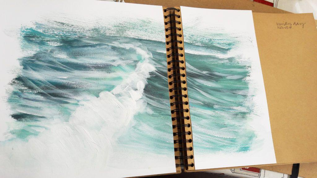 Windy day waves. Acrylic on paper