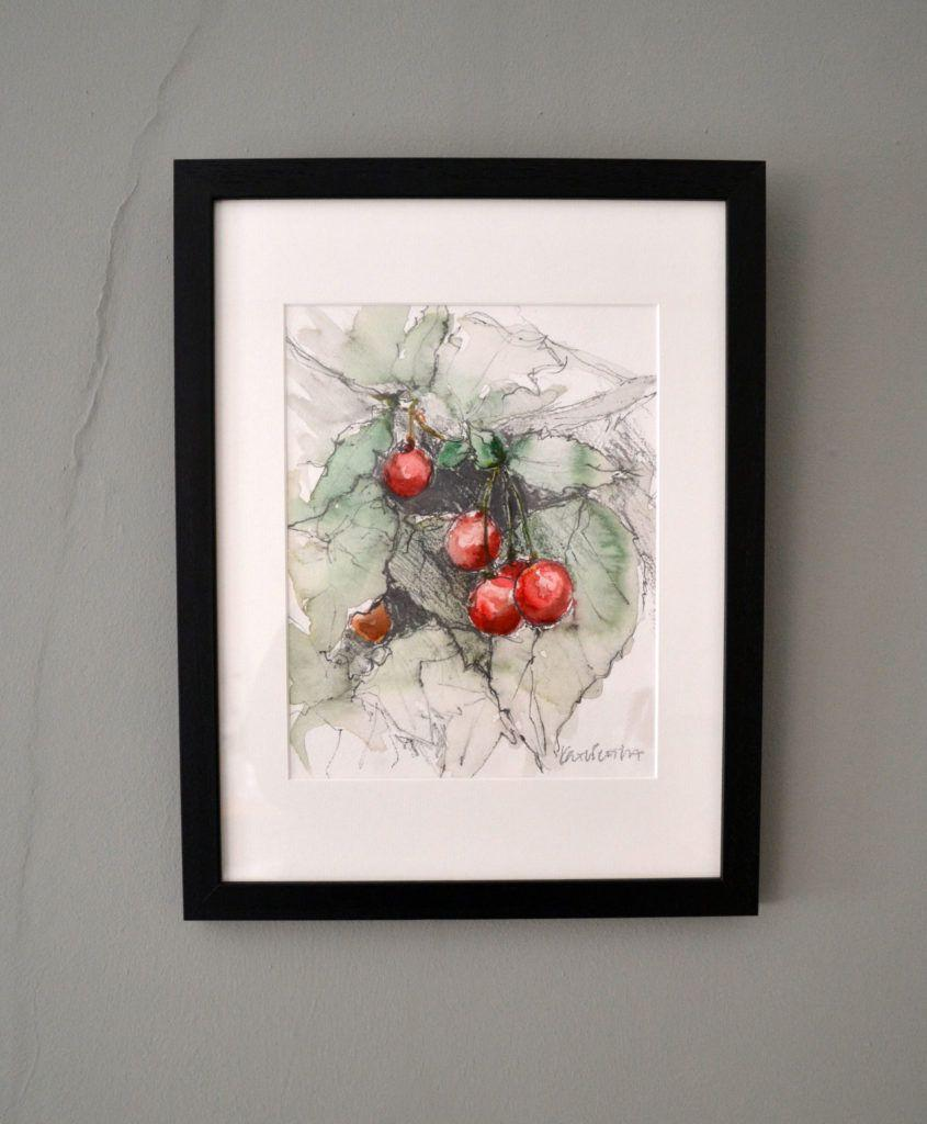 Cherries. Original graphite and watercolour on acid-free Bockingford paper