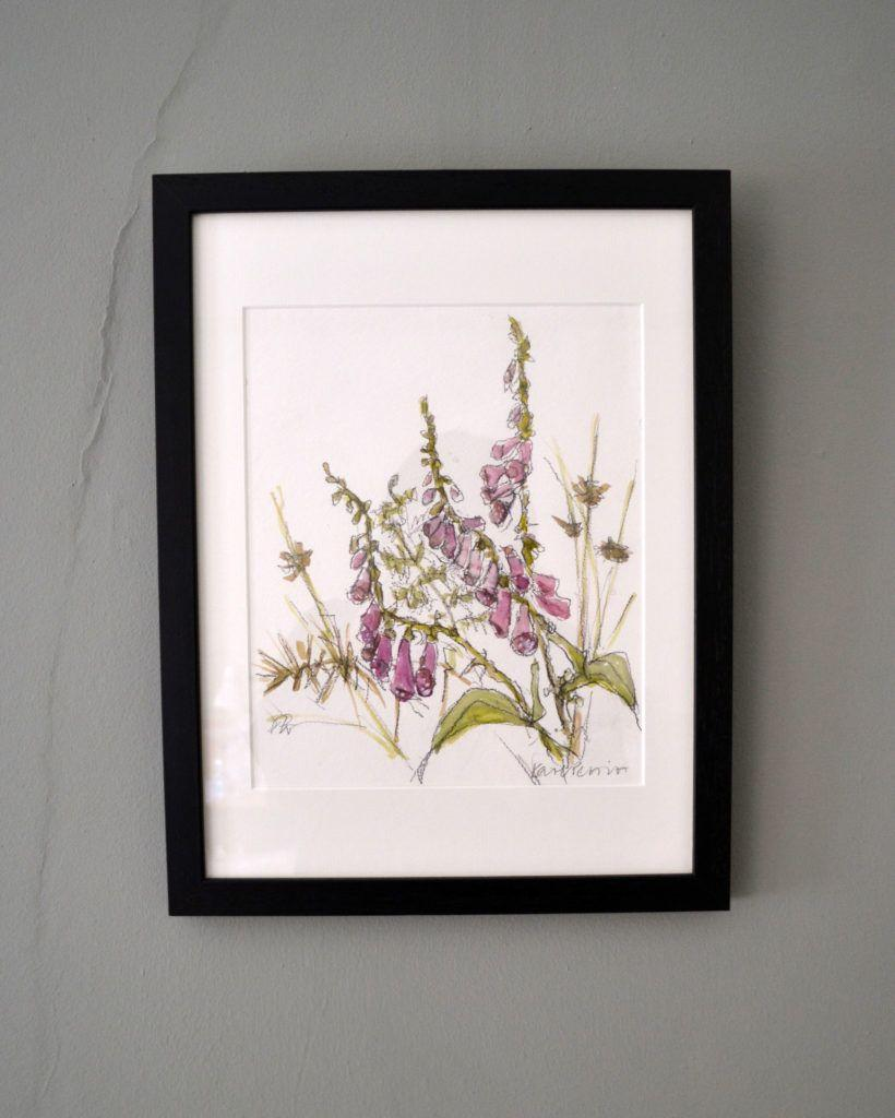 Foxgloves, Bracken, Rushes and Thorns. Original graphite and watercolour on acid-free
