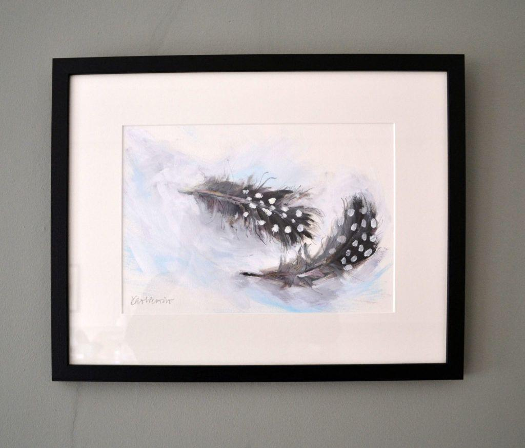 Guinea Fowl Feathers. Original acrylic and graphite on acrylic paper