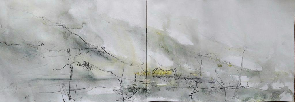 Misty and rainy study of Cadir from Tal y Llyn (wet paper!)