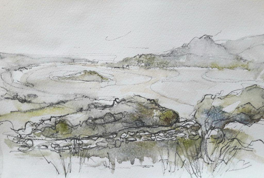 Misty view of estuary and Ynys Gifftan from Llandecwyn Church