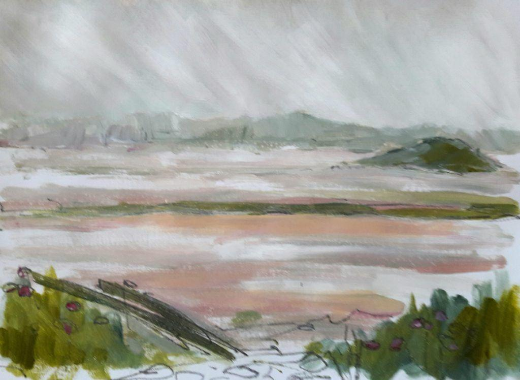 View over estuary with misty hills beyond