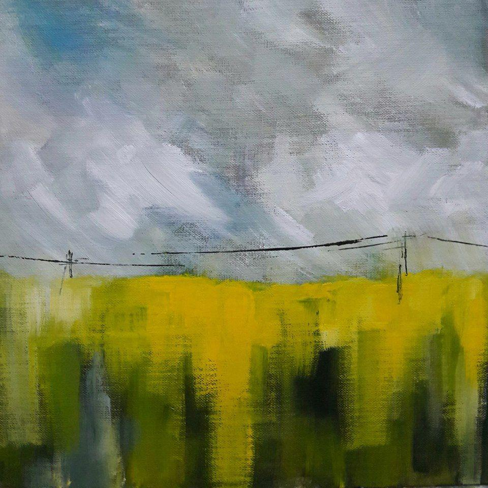 Oilseed rape and pilons. Acrylic on canvas board