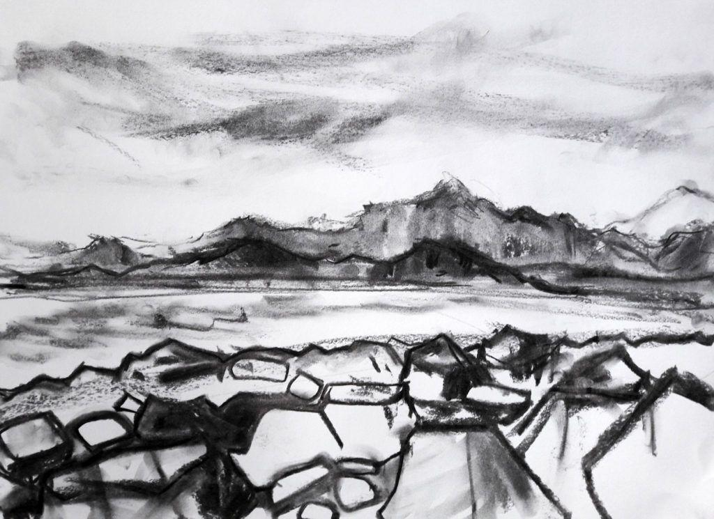 Charcoal study of the same view.