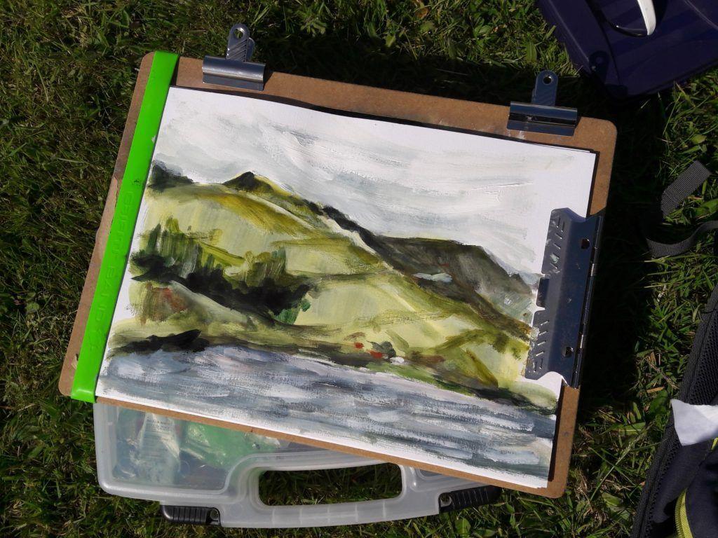 Colour study of hills.