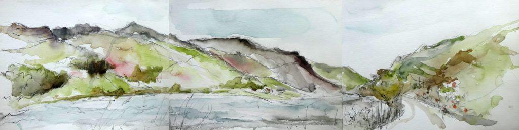Sketch for a commission of Cadir Idris range from Tal y Llyn. Worked over three pieces of paper as the view demanded a wider aspect.