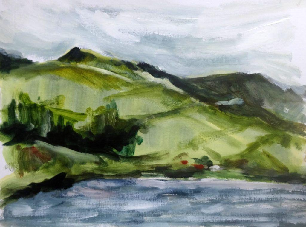 Acrylic colour study for commission of Cadir Idris range from Tal y Llyn