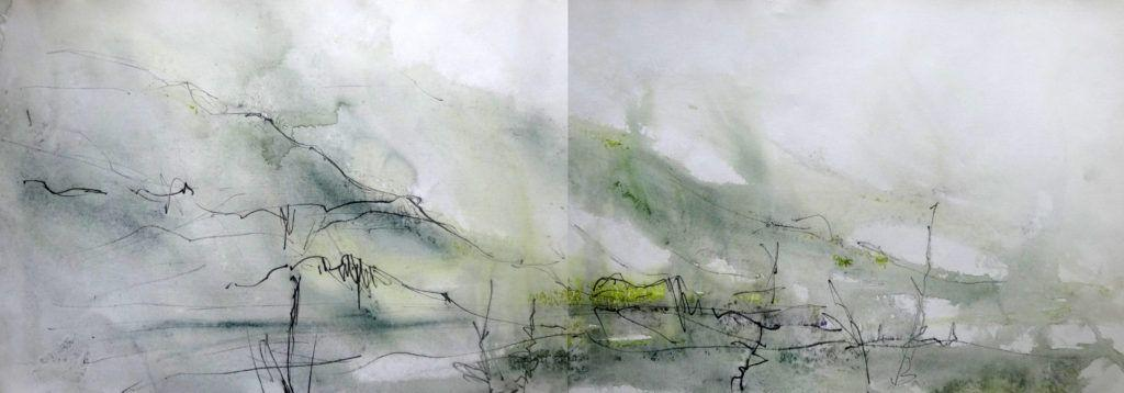 I returned to this view on a day that turned on me and soaked me! I actually think this sketch I did in acrylic and graphite on unintentionally wet paper is one of my best in terms of capturing the atmosphere and a sense of the thick mizzle and mists.