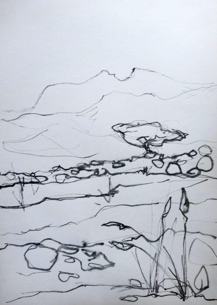 View from bedroom window – line study. You may recognise the distinctive 'bite' out of the summit from some other paintings I've done.