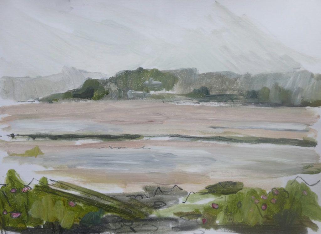 Misty and rainy view over estuary towards Portmeirion.