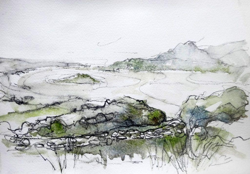 On another misty day, I sketched the view of the estuary and Ynys Gifftan from Llandecwyn Church. I actually love sketching in these conditions - you can see the raindrops on the paper on the next few sketches...