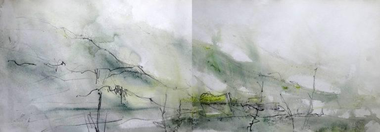 The same view painted plein air in acrylics and graphite on a VERY wet day (can you tell?)! This one gives me what I need in terms of weather and reminds me how the mountains soften in the rain and how the colours change. This is actually one of my favourite plein air paintings of the area