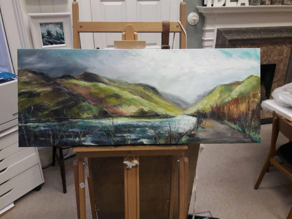 Finished piece on easel
