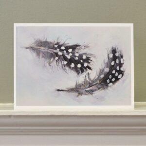 'Guinea fowl feathers' art card