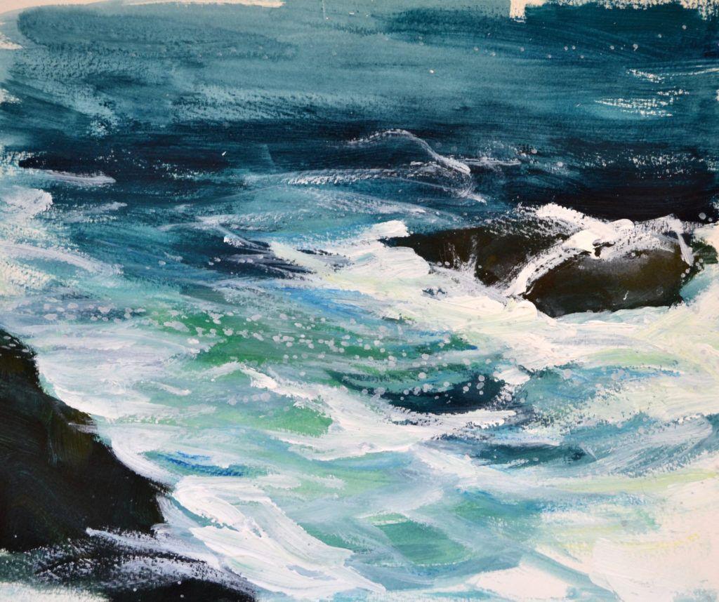 Churning sea over rocks
