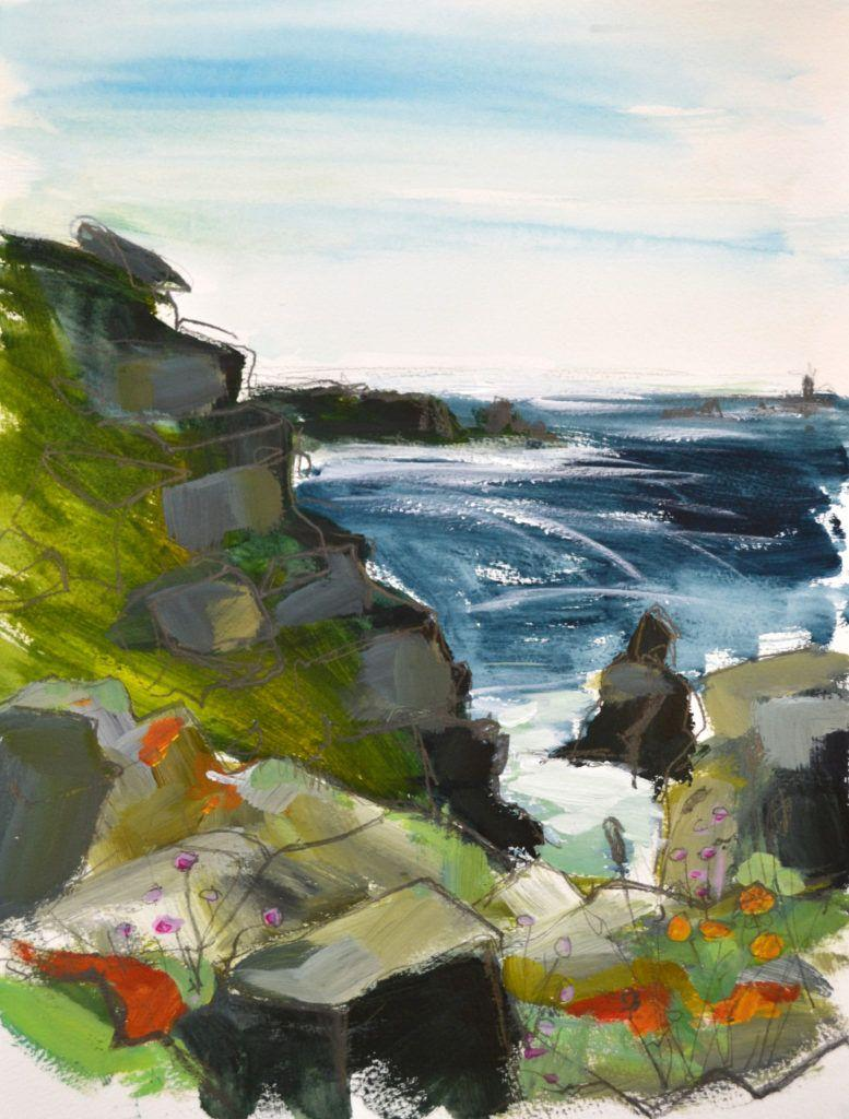 Study from the cliff-tops, looking towards Longships Lighthouse