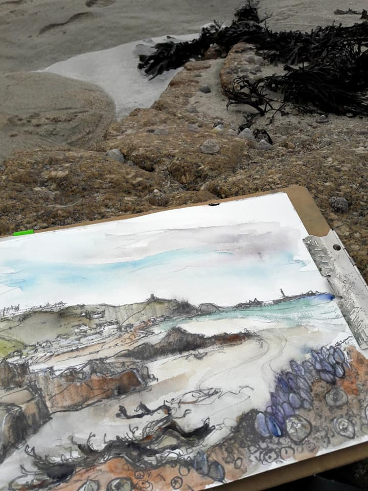 Drawing on the beach