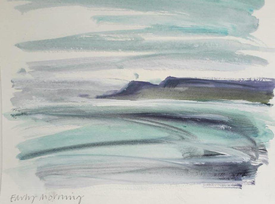 Early morning - quick acrylic sketch looking out to Cape Cornwall